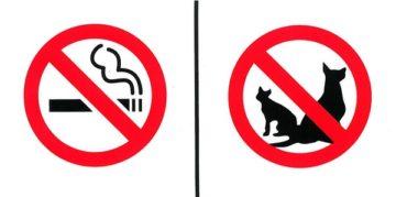 """Sticker """"Verboden te roken   Verboden ingang voor dieren"""""""
